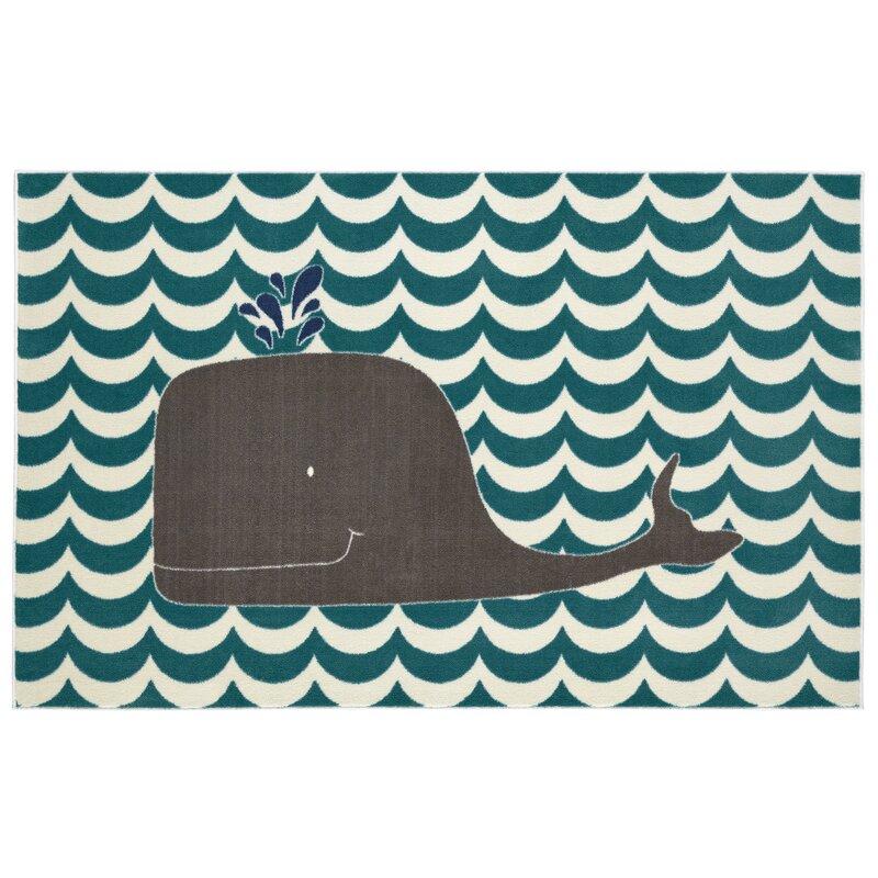 Viv Rae Heimbach Oh Whale Teal Navy Grey Cream Indoor Area Rug Reviews Wayfair