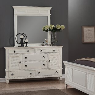 Stratford 6 Drawer Combo Dresser With Mirror by Highland Dunes Today Only Sale