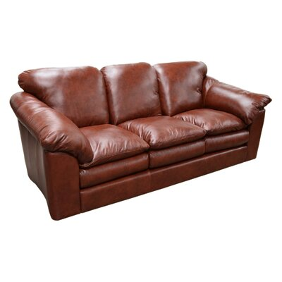 Oregon Leather Sofa Omnia Leather Seat Cushion Fill: Down Cushion Fill, Body Fabric: Southwestern Mushroom