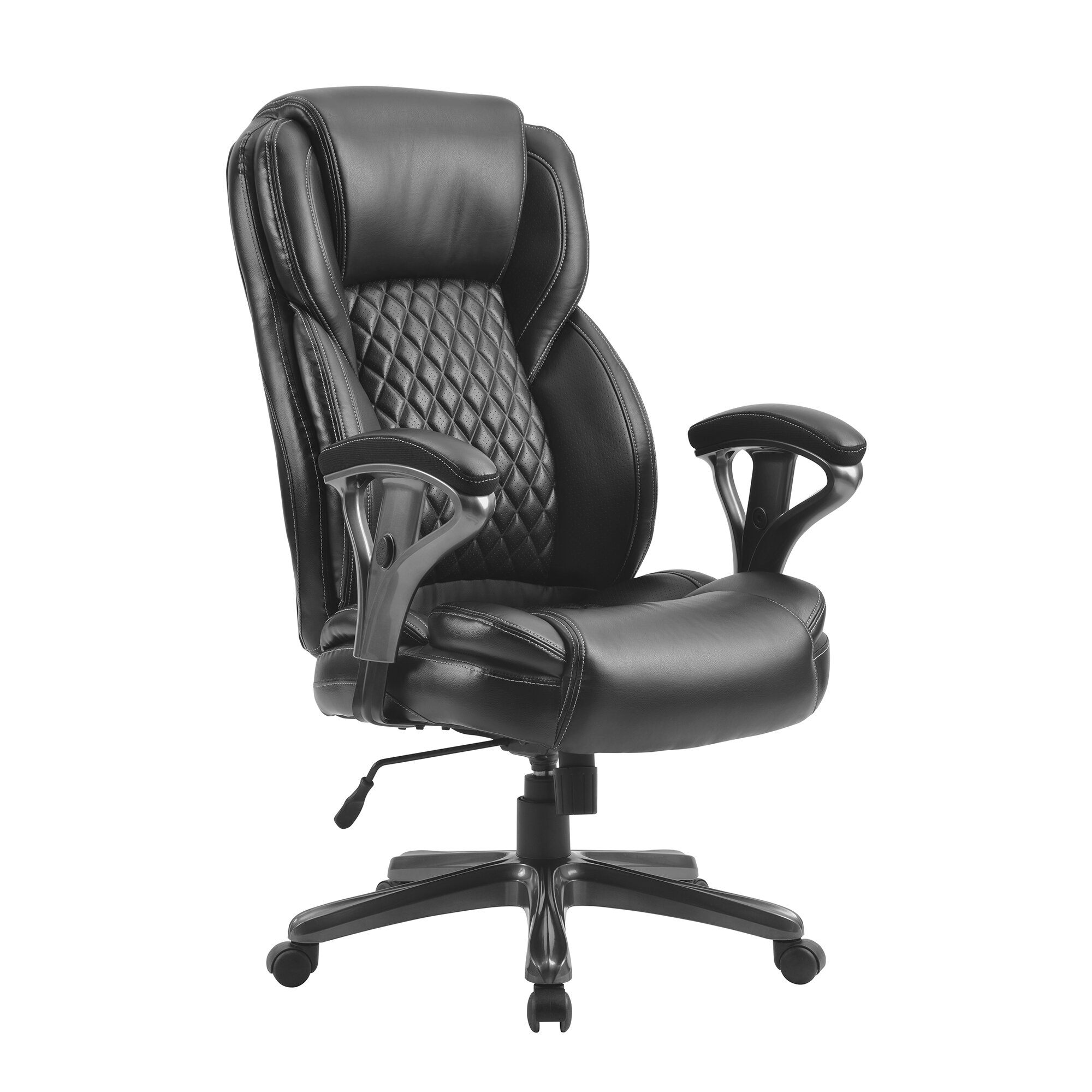 Home Office Large And Tall Pu Leather Office Chair/ergonomic Computer Chair  High Back Pu Executive Chair, Black