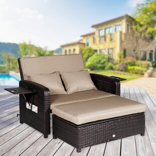 Ebern Designs Kyle 2 Piece Rattan Sofa Set with Cushions