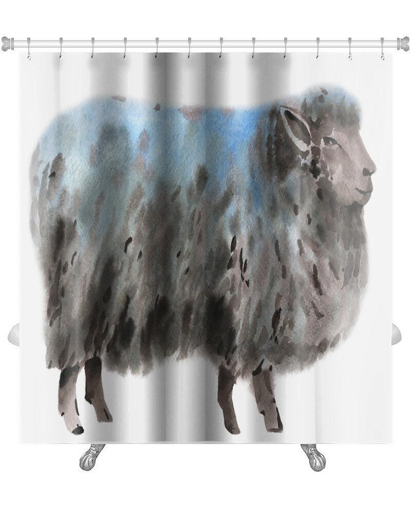 World Menagerie Capodanno Watercolor Of A Sheep Premium Single Shower Curtain Wayfair