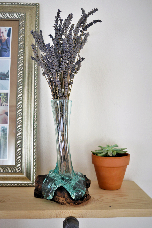 Brayden Studio Kehl Molten Glass And Wood Skinny Table Vase Wayfair