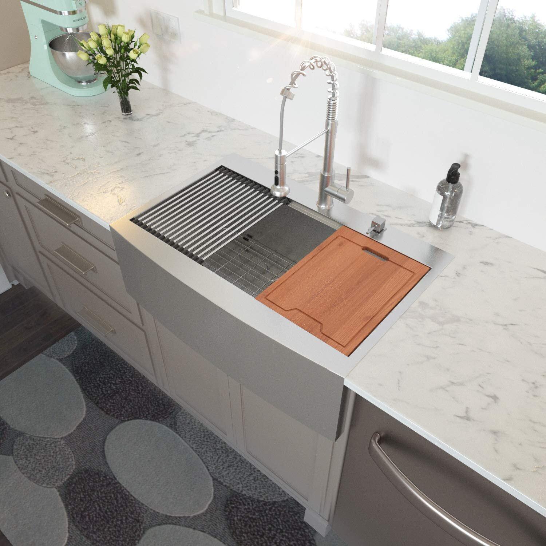 Magic Home Stainless Steel 33 L X 22 W Farmhouse Kitchen Sink With Basket Strainer Wayfair