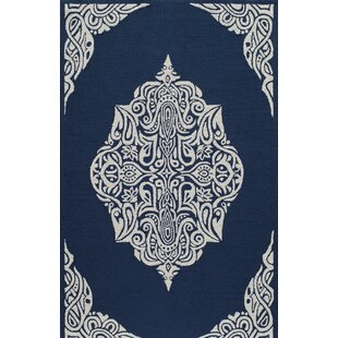 Bromville Hand-Hooked Blue Indoor/Outdoor Area Rug