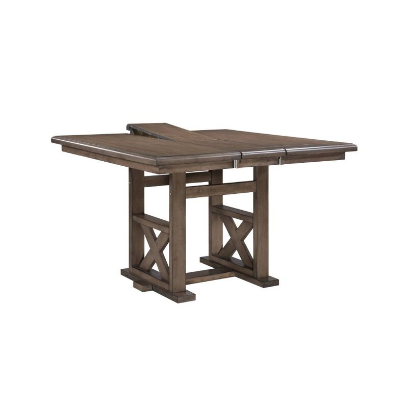 Rosalind Wheeler Folcroft Counter Height Butterfly Leaf Trestle Dining Table