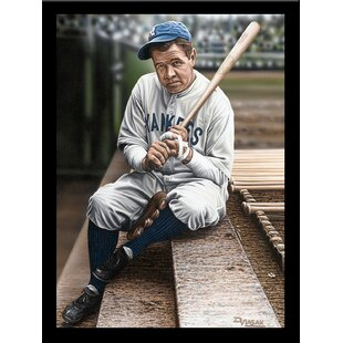 'Babe Ruth Sitting on the Top Step of Dugout' Print Poster by Darryl Vlasak Framed Memorabilia By Buy Art For Less