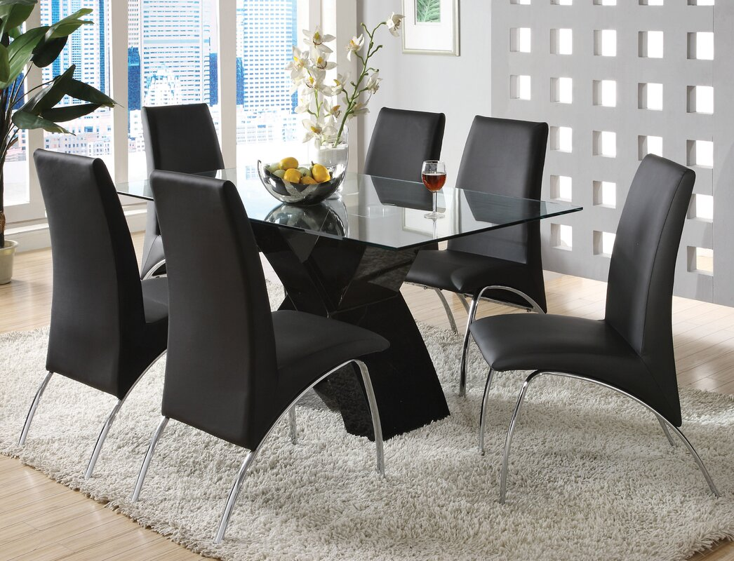 Black dining room table set - Faust 7 Piece Dining Set