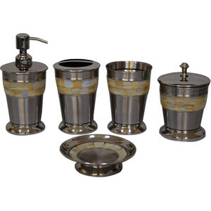Mother of Pearl 5 Piece Bathroom Accessory Set