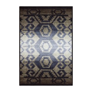Huntley Superior Printed Non Slip Blue Gray Area Rug