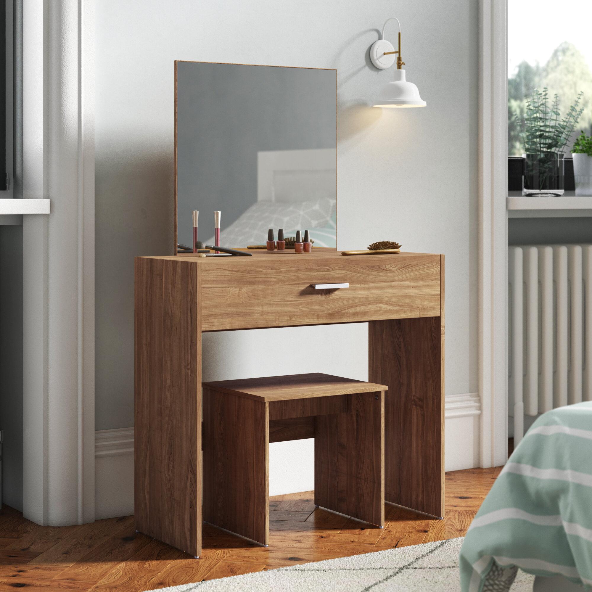 Zipcode Design Buckland Dressing Table Set With Mirror Reviews Wayfair Co Uk