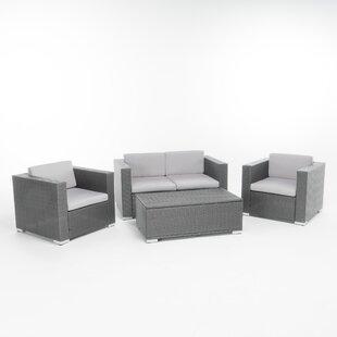 Ostro 4 Piece Rattan Sofa Set with Cushions