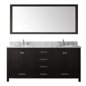 stoneham 728 double bathroom vanity set with carrara white top and mirror