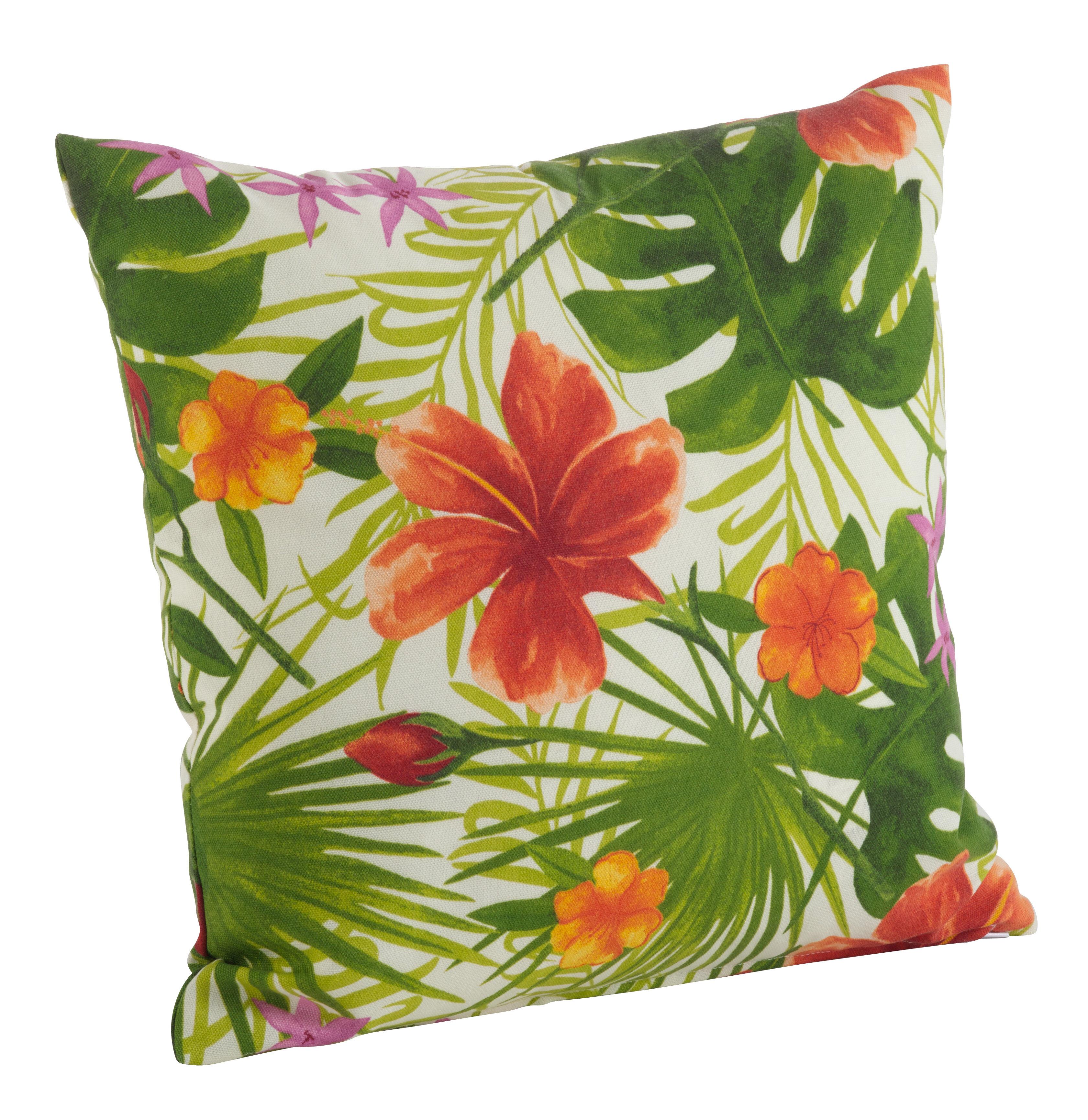 Saro Tropical Hibiscus Floral Indoor Outdoor Throw Pillow Reviews
