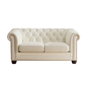 Nashville Leather Chesterfield Loveseat by A..