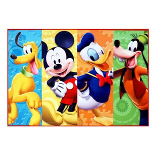 Disney Mickey Mouse Polyester Blue Yellow Orange Kids Rug