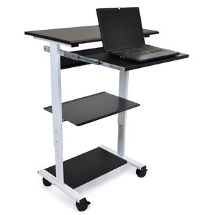 Mobile 3 Shelf Adjustable Stand Up Workstation