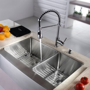 Kitchen Combos 33 L x 21 W Double Basin Farmhouse Kitchen Sink with Faucet