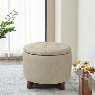 Dollard Round Button Tufted Storage Ottoman by Charlton Home