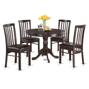 Travis 5 Piece Solid Wood Dining Set August Grove