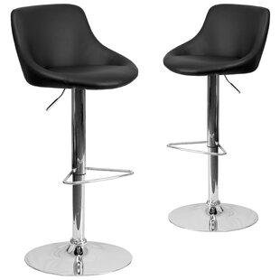 Gavin Adjustable Height Swivel Bar Stool (Set of 2) Wrought Studio