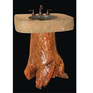 Earthen Fantasy Organic Suites Tranquilous Wood Trunk 30 Pedestal Bathroom Sink Quiescence