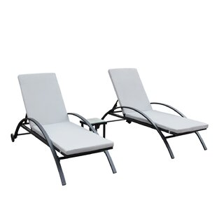Wrought Studio Lechner Reclining 3 Piece Chaise Lounge Set with Cushions