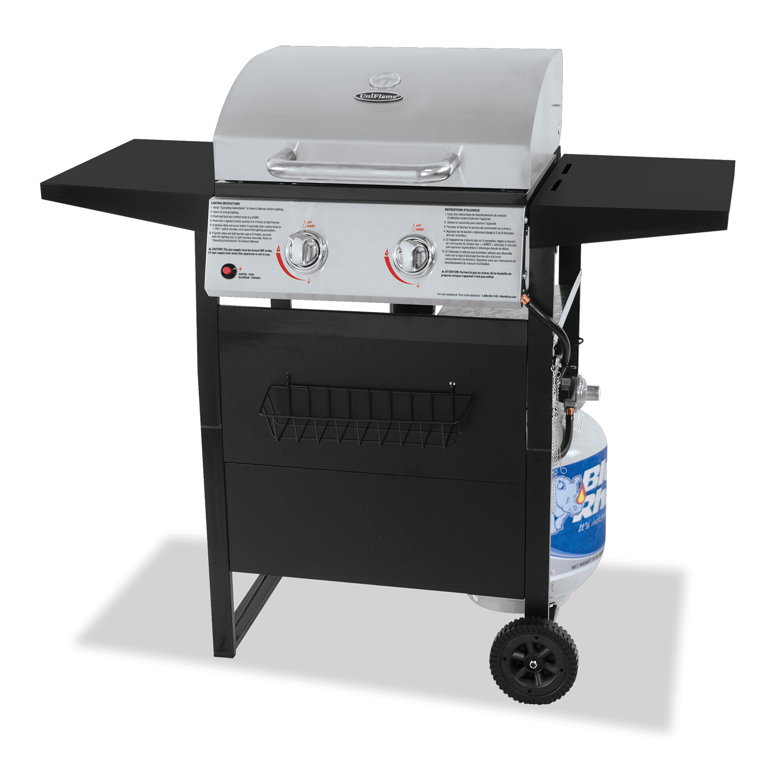 Rhino Outdoor 2-Burner Propane Gas Grill with Side Burner