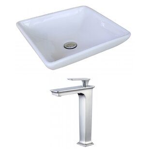 Best Price Ceramic Square Vessel Bathroom Sink with Faucet and Overflow ByAmerican Imaginations