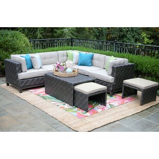 Yara 4 Piece Rattan Sunbrella Sectional Seating Group with Cushions