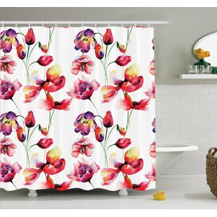 Floral Blooming Tulip Poppy Shower Curtain Set