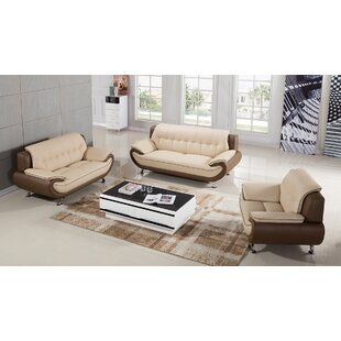 Latitude Run Vickrey 3 Piece Leather Livi..