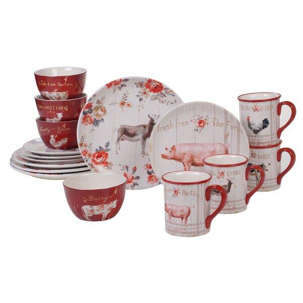August Grove Salyers Farmhouse 16 Piece Dinnerware Set