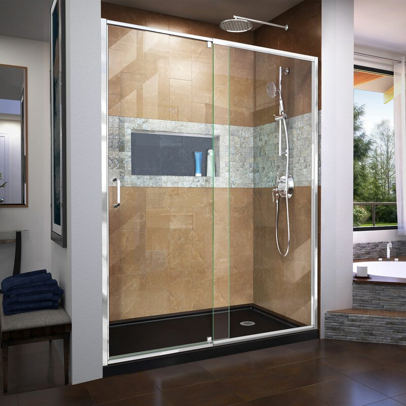Dreamline Flex 56 60 In W X 72 In H Semi Frameless Pivot Shower