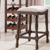 Argonaut Wood and Linen Saddle Counter 25'' Bar Stool (Set of 2) by Alcott Hill®