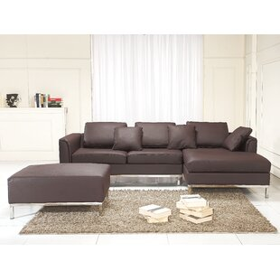 Tachani Leather Corner Sectional by Orren Ellis