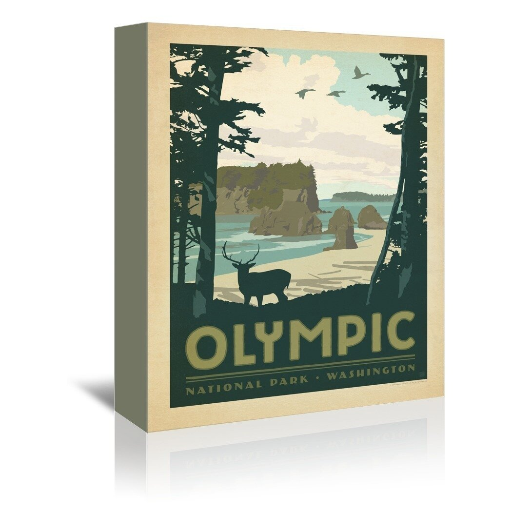 East Urban Home Olympic National Park Vintage Advertisement On Wrapped Canvas Reviews Wayfair