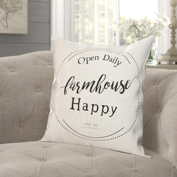 Gracie Oaks Gering Farmhouse Happy Farmhouse Throw Pillow Cover Wayfair