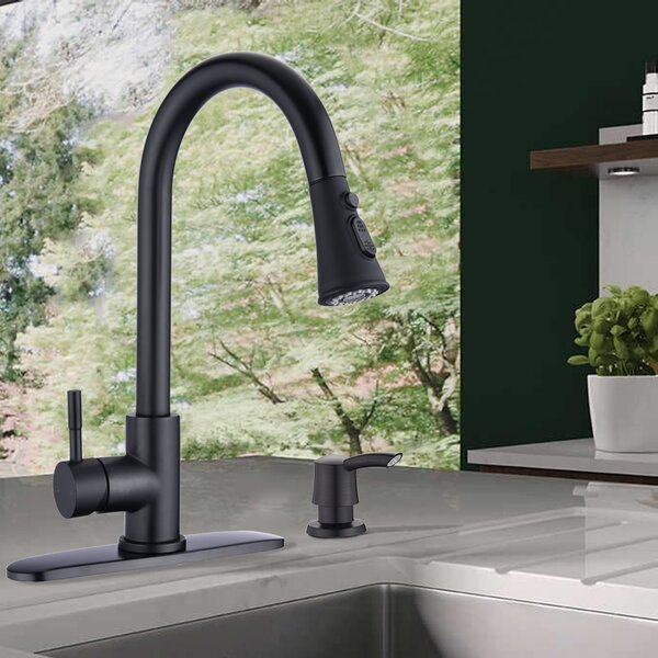 Proox Pull Down Single Handle Kitchen Faucet With Optional Soap Dispenser Reviews Wayfair