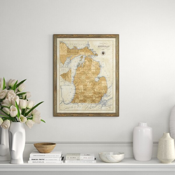 Vintage Print Gallery Map Of Michigan Picture Frame Graphic Art Print On Paper Perigold