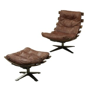 Melendez Top Grain Leather Swivel Lounge Chair and Ottoman