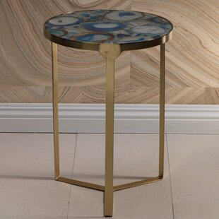 Debbi 20-inch Tall Brass End Table by Everly Quinn