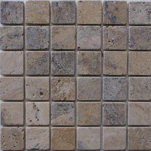 "Philadelphia 2"" x 2"" Travertine Mosaic Tile in Grey by"