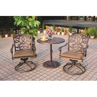 Fleur De Lis Living Calhoun 3 Piece Bistro Set with Cushions