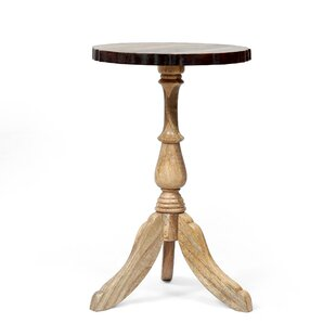 Solid Wood Pedestal End Table by Rosalind Wheeler