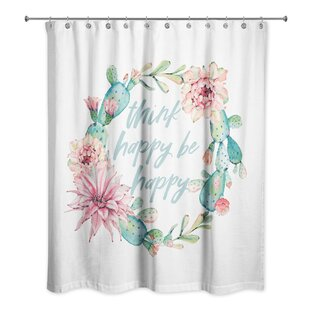 Rossi Cactus Wreath Think Happy Be Happy Single Shower Curtain