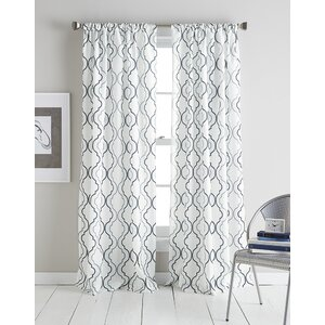 Lindstrom Geomertic Semi-Sheer Rod Pocket Single Curtain Panel