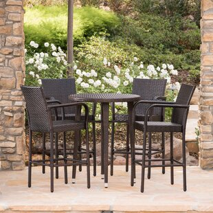 Gowins Outdoor Wicker 5 Piece Pub Table S..