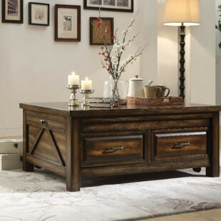 Ironwood Transitional Rectangular Wooden Extendable Coffee Table With Storage by Loon Peak Looking for