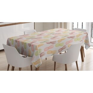 Ambesonne Pinele Tablecloth Pineles In Various Angles Exotic Natural Fruit Themed Vintage Sketch Pattern Rectangular Table Cover For Dining